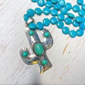 Turquoise Cactus Pendant Silver Necklace